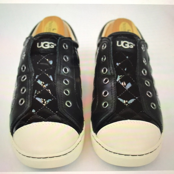 911b18db829 UGG Jemma Quilted Black Patent Leather Sneaker